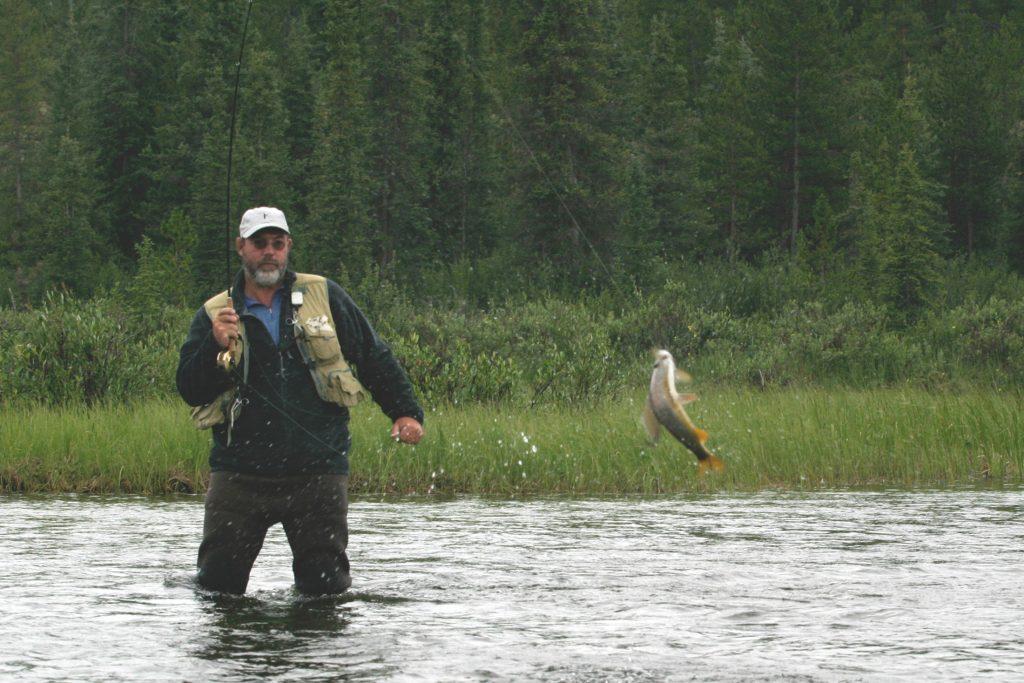 Hans van Klinken playing an Arctic grayling in Yukon