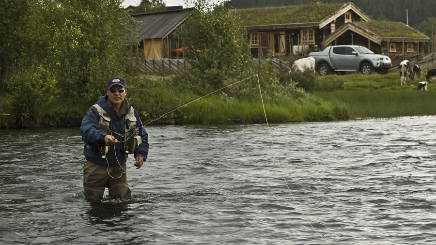 Matt Hayes fly fishing river Glomma just in front of Estuary - the Fly Fishing Lodge at Kvennan Fly Fishing